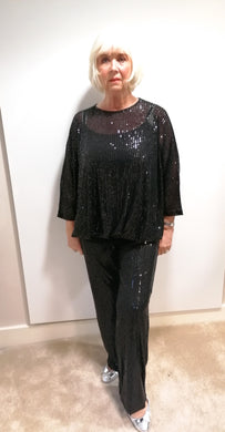 Malissa J Black Sequin Trousers