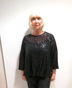 Malissa J Black Sequin Top
