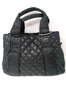 Malissa J Black Quilted Tote Bag