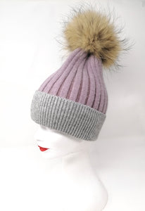 Little Red Lilac & Grey Fur Pom Bobble Hat