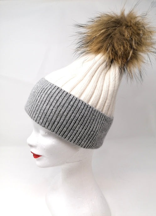 Little Red White & Grey Bobble Hat