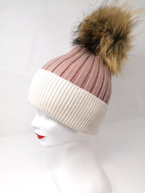 Little Red Pink & Cream Fur Pom Bobble Hat