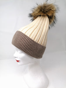 Little Red Beige & Cream Bobble Hat