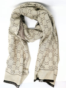 Malissa J Link Letter Print Reversible Taupe Scarf