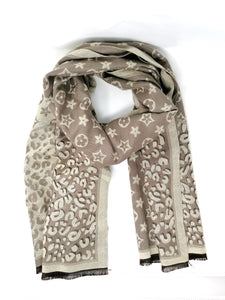 Malissa J Star Print Taupe & Cream Reversible Scarf