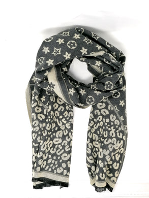 Malissa J Star Grey & Cream Print Reversible Scarf