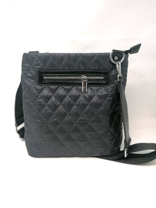 Malissa J Black Quilted Messenger Bag