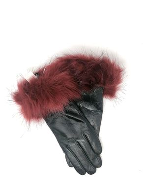 Malissa J Black Leather Gloves