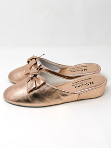 Florit Rose Gold Leather Slippers