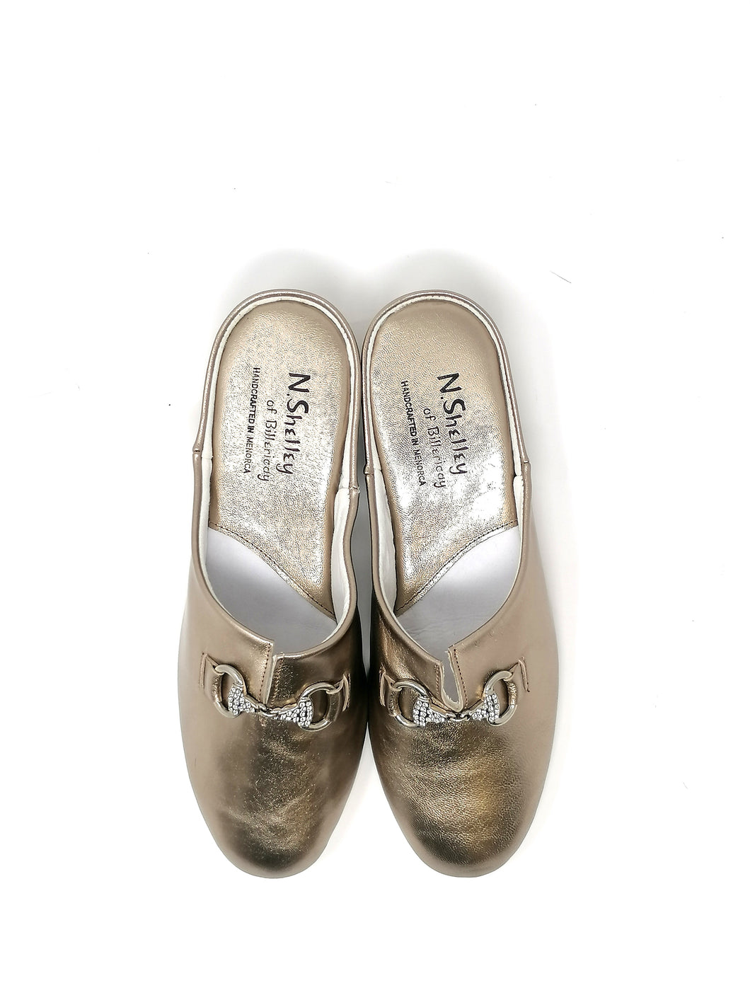 Florit Pewter Leather Slippers