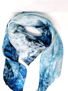 Laura Orchant Blue Marble Large Square Scarf