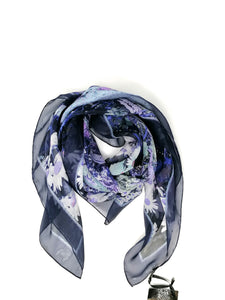 Laura Orchant Paradise Garden Blue Small Square Scarf