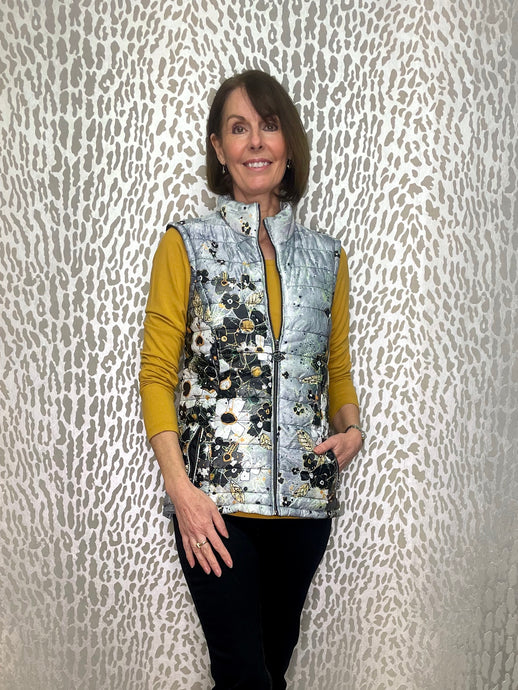 Dolcezza Simply Art Grey & Mustard Quilted Gilet