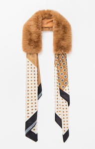 Pia Rossini Tan Faux Fur Collar