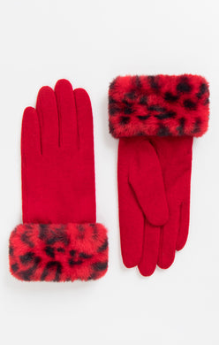 Pia Rossini Red Animal Print Cuff Gloves