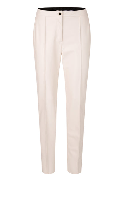 Marc Cain Collection Ivory Pleather Trousers