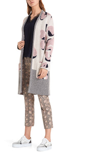 Marc Cain Collection Cream & Pink Leopard Print Coatigan