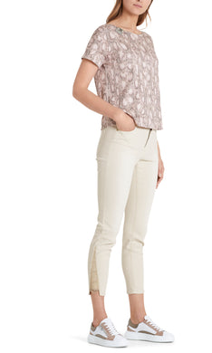 Marc Cain Collection Cream Jeans with Lace Hem
