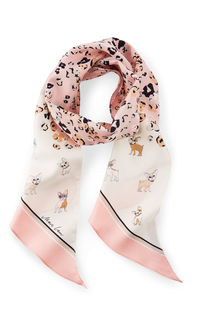 Marc Cain Collection Cream & Pink Animal Print Neck Tie Scarf