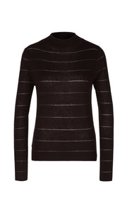 Marc Cain Collection Chocolate Fine Knit Stripe Sweater