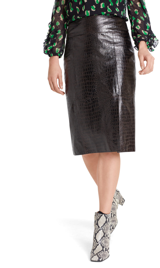 Marc Cain Collection Chocolate Leather Skirt