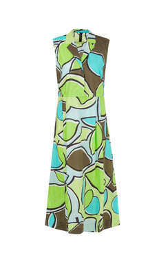 Marc Cain Sport Dress NS 21.21 W37 Aqua/Lime