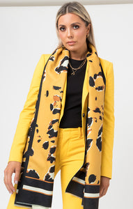 Pia Rossini Yellow Animal Print Scarf