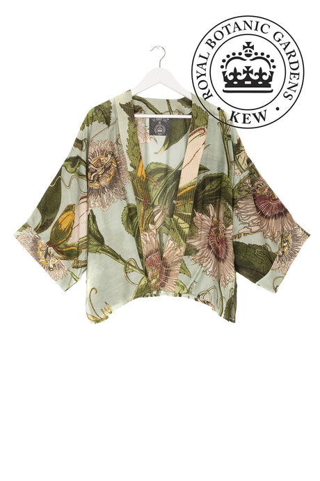 One Hundred Stars Kimono - Kew Passion Flower - Aqua