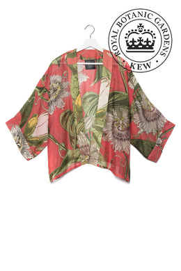 One Hundred Stars Kimono - Kew Passion Flower - Coral