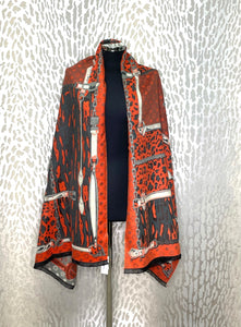 Malissa J Orange Animal & Chain Design Scarf