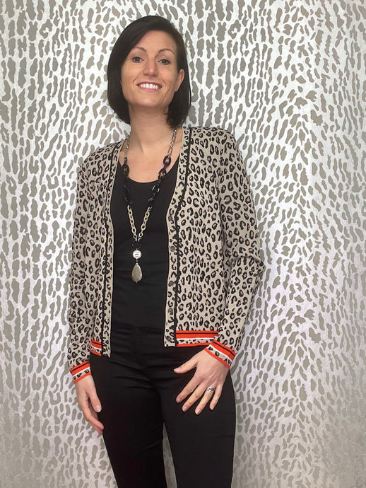 Rino & Pelle Animal Print Short Cardigan