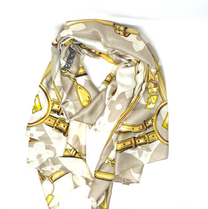 Malissa J Cream Sateen Finish Scarf