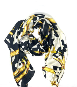 Malissa J Black Sateen Finish Scarf