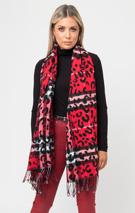 Pia Rossini Red Animal Print Scarf