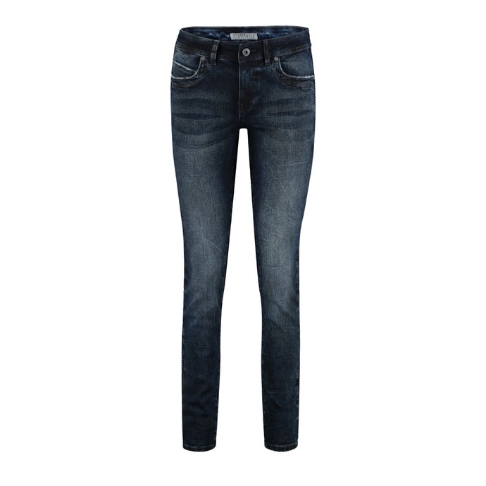 Red Button Dark Denim Jeans with Side Embroidery
