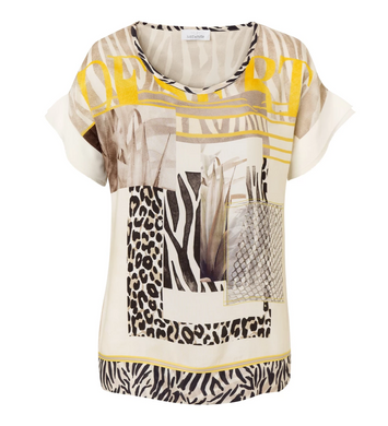 SE Just White Patchwork Top - 42402 - Beige/Yellow SS20