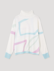 Cocoa Cashmere Abstract Star Print Cream Sweater