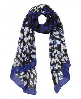 Betty Barclay Animal Print Scarf - 3000/1261 - Blue/Black
