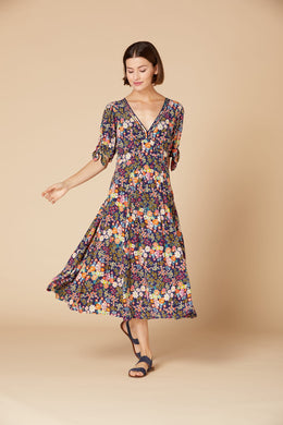 Derhy Long Ditzy Dress - Cabonegro - Navy
