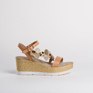 Reqins Disc Detail Wedges - Calvi - Pale Tan SS20