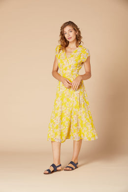 Derhy Long Dress - Canezou - Yellow/White