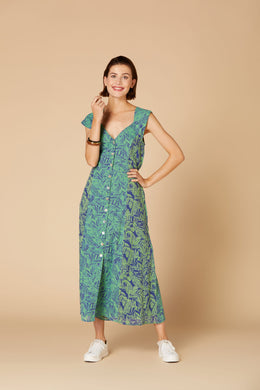 Derhy Long Floral Dress - Cantemir - Jade/Blue