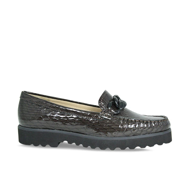 Lisa Kay Brown Patent Croc Loafer