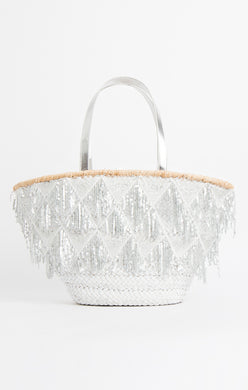 Pia Rossini Delphine Basket Bag White/Silver DEL01330