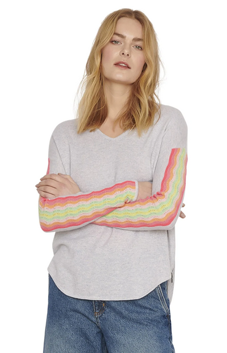 Cocoa Cashmere Rainbow Stripe Sweater