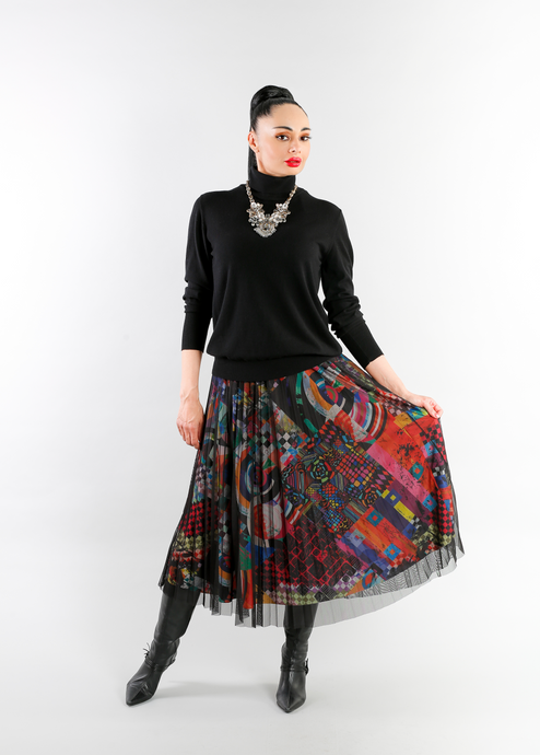 Eroke Pleated Skirt GO396 P08 BRIGHT MULTI