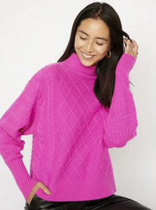 Cocoa Cashmere Cerise Cable Knit Sweater