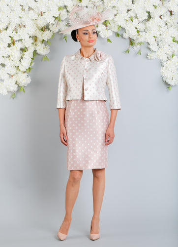 Luis Civit Spot Dress & Jacket X79/D812 449 230 PINK & CREAM