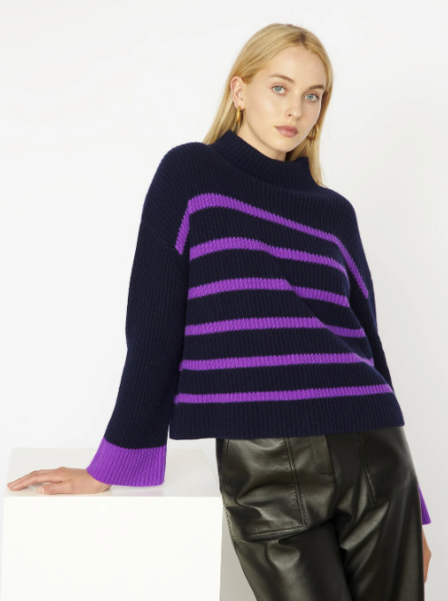 Cocoa Cashmere Navy & Purple Stripe Sweater