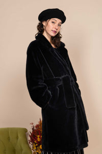 Derhy Black Faux Fur Soft Oversize Coat